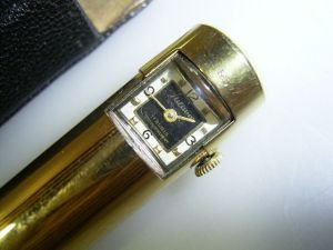 Ballpoint solid 14 carat with goldplating and watch, very unusal