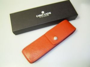 Caran d` Ache leather case , for 2 pens, fire red
