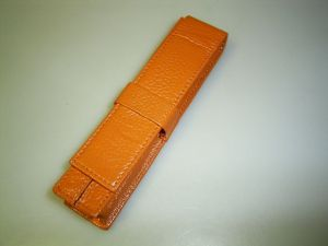 Wancher pen case for 1 pen, orange, calfskin