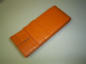 Wancher pen case for 3 pens, orange, calfskin