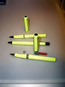 Lamy Safari neon lime fountain pen, rollerball + ballpoint!