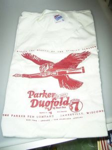 Parker  t-shirt with Duofold ad, size L